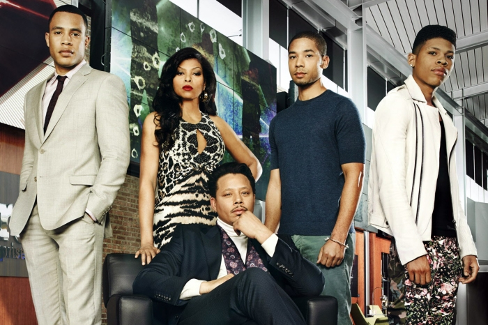 TV STILL -- DO NOT PURGE -- EMPIRE: (L-R): Trai Byers as Andre Lyon, Taraji Henson as Cookie Lyon, Terrence Howard as Lucious Lyon, Jussie Smollett as Jamal Lyon and Trai Byers as Andre Lyon. ©2014 Fox Broadcasting Co. CR: Michael Lavine/FOX